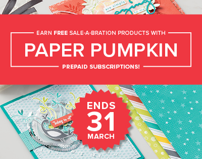 Get fast, easy Sale-A-Bration rewards with Paper Pumpkin prepaids. Ask me how!