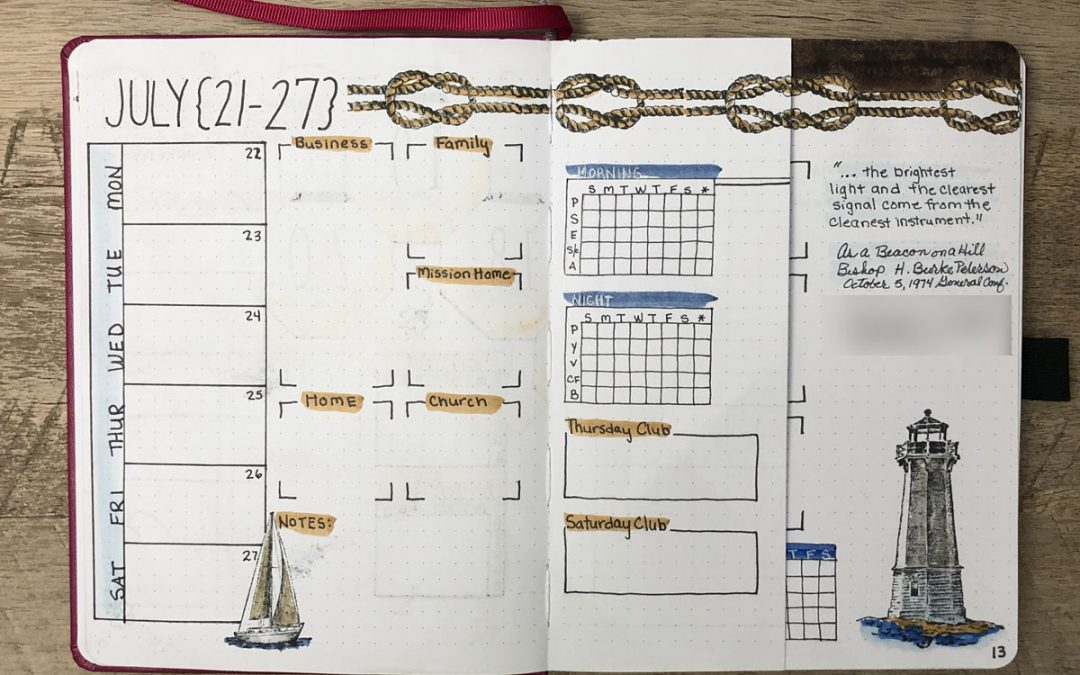 Bullet Journal Weekly Spread July 22nd thru July 31st
